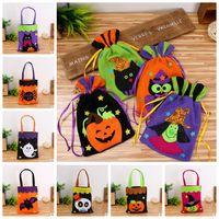 Wholesale Cat Party Favors - Halloween Gift Bag Pumpkin Handbag Candy Ghost Cat Tricks Halloween Decoration Drawstring Bag Handbag Party Favors CCA7029 100pcs