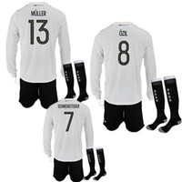Wholesale Germany Suits - 2017 18 Long Sleeve Deutschlan Kits Ozil Germany Soccer Jerseys Uniform Muller Gotze Reus Kroos Neuer HUMMELS Football Kits Suit With Socks