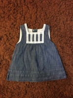Wholesale Infant Girl Denim Dresses - Baby Girls Jeans Dress Sleeveless Summer Round Neck Solid American Style 3-6Months Infant Girls Denim Clothes