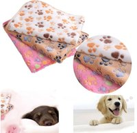 Wholesale Large Fleece Blankets Wholesale - New Arrival 40*60cm Double-sided Fleece Lovely Pet Small Large Warm Paw Print Dog Puppy Cat Fleece Soft Blanket Beds Mat Dog Supplies