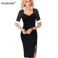 Wholesale Short Dress Polka Dots Black - 2017 New Arrival women Polka Dot Plaid Short Sleeve Patchwork Stand Collar Elegant Party Sheath Vestidos Plus Size Split Midi Dresses