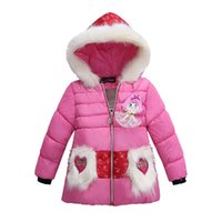 Wholesale Child Plush Coat - children girl winter down coat hooded long thickened jacket plush tournament cartoon pattern outwear for kids fashion warm clothes retail