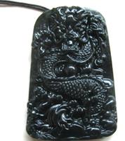 Wholesale Jade Pendants Face - 2017 NEW exquisite xinjiang black jade hand engraving dragon Pendants free shipping fashion jewelry black jade dragon
