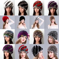 Wholesale Pineapple Knit Hat - Fashion Popular New Style Woven warm pineapple cap Warm Winter Fur Hat   Beaver Rabbit Fur Flower Knitting Hat - Free Shipping + Free Gift