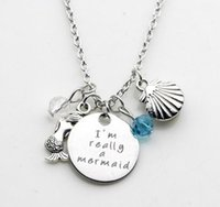 Wholesale Wholesale Beach Glass Jewelry - The little mermaid Inspired beach Jewelry I'm really a mermaid Silver tone crystal Pendant necklace for Woman or girls