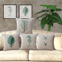 Wholesale Cm Themes - New Sea Theme Hippocampus Whale Turtles Square Cotton Line Throw Pillow Case Home Decorative Cushion Cover 45X45 cm