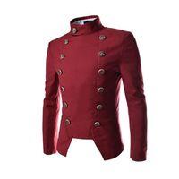 Wholesale Corduroy Jacket British - Men's Blazers coat 2017 British style double-breasted Slim black male blazer jacket fashion casual lapel neck men blazer suit free shipping