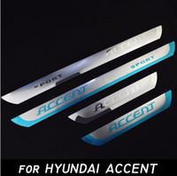 Wholesale Hyundai Sedans - ACCENT Stainless Steel Door Sills Scuff Plate fit for Hyundai ACCENT 2010-2016 Hatchback Sedan Dual Tone Door Sills