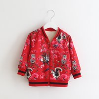 Wholesale Wholesale Clothing Designer Jackets - Printing Owl Jacket Bomers for Girls 2017 Winter Children Jackets with Fleece Keep Warm Designer Brand Boutique Toddler Clothing