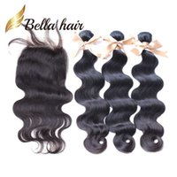 Wholesale Get 26 Inch Hair Extensions - Malaysian Peruvian Brazilian Virgin Hair Extensions Lace Closure With Bundles Natural Color Body Wave Buy 3 Wefts Get 1 Free Lace Closure