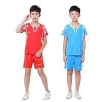Wholesale New Girls Tennis Clothes - Hot, new clothes, children badminton   tennis clothes (shirt + shorts) boys   girls wear summer leisure sports clothes