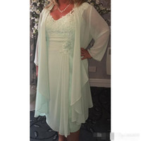 Wholesale Mother Bride Casual - Mint Green V Neck Column Short Mother of the Bride Dresses with Wrap Plus Size Casual 2017 Chiffon Evening Gace Tea Length