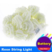 Wholesale Battery Powered Rose Light - Wholesale- Battery Powered 2M 20 LEDs Rose String Lights Christmas Light Indoor Decoration Lightings Guirlande Lumineuse Garland Fairy Lamp