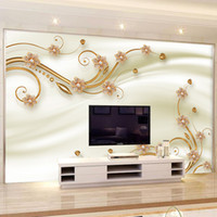 Wholesale European Classic Sofa - Custom 3D Mural Wallpaper New Fashion European Style Flowers Living Room Sofa Bedroom TV Background Wall Home Devoration Display