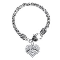 Wholesale Maid Set - Unique New Arrival Simple Design Rhodium Plated Letter MAID OF HONOR Single-Sided Heart Rhinestone Pendant Jewelry Bracelets