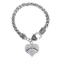 Unique New Arrival Simple Design Rhodium plaqué Lettre MAID OF HONOR Single-Cided Heart Rhinestone Pendentif Bijoux Bracelets