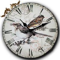 Wholesale Silent Digital Clock - Bird Desigh Wall Clock Retro Vintage Silent Quartz Cute Wall Clocks Country Style Numerals Round Wood Home Decor Clocks