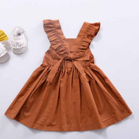 Wholesale Coffee Color Dresses - Everweekend Baby Girls Ruffles Halter Dresses Vintage Coffee Color Cotton Halter Summer Party Dress for 1-3 years old Kids