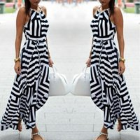 Wholesale Halter Long Chiffon Maxi Dress - HOT New Womens Sexy Bandage Celebrity Long Maxi Dress Ladies Summer Casual Boho Stripe Chiffon Silk Beach Party Halter Sun Dress