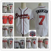 Wholesale Phillips Blue - Mens #2 #7 Dansby Swanson Jerseys Stitched #4 Brandon Phillips #11 Ender Inciarte Flex base baseball Jersey S-3XL