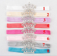 Wholesale Newborn Baby Girl Head Bands - Lovely Baby Princess Crown Headband Baby Girl Hair Accessories Tiara Infant Elastic Hair Bands Newborn Shiny Head Wrap headband YH567