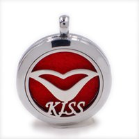 Wholesale Lips Chain Necklace - 1pcs lips 30mm Magnetic Perfume Aromatherapy essential oil Diffuser Locket Hollow locket pendant with chain (Felt Pad randomly freely) XX146