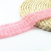 Wholesale Pink Rose Quartz Jewelry - Rose Quartz Synthetic Round Beads, Pink Semi Precious Beads 4 6 8 10mm Jewelry Supply Bead Strand 15''Gemstone Bead L0094#