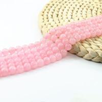 ingrosso rosa, rosa, quarzo, rosa-Perline tonde sintetiche quarzo rosa, perline semipreziose rosa 4/6/8 / 10mm Perle perlina forniture gioiello 15 '' perlina gioiello L0094 #