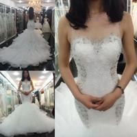Wholesale Lace Corset Rhinestone Wedding Dresses - Illusion Jewel neck Rhinestones Lace wedding dresses 2017 Ruffles Lace-up Corset Beaded Crystals Bridal Wedding Gowns Plus size 2016 Vintage