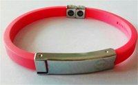 Wholesale Power Titanium Ionic Magnetic Bracelet - New fashion jewelry PB Titanium ionic magnetic silicone wristband power bangle high quality keep balance charm bracelet