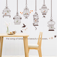 Wholesale Bird Cage Bedroom Stickers - Removable Vinyl Birds Cage Cartoon Kids Wall stickers for kids rooms Home decor DIY Child Wallpaper Art Wall 3D Stickers Posters 60x90cm pc