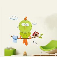 ingrosso orologi adesivi bambini-All'ingrosso-La mascotte Orologio da parete gufo DIY 3D Adesivo Sticker Vinile Orologi veri per Kid Room buon regalo per i bambini