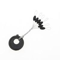 tapón de flotador al por mayor-Al por mayor-10pcs / pack 6 en 1 tamaño L negro de goma oval tapón pesca flotador Bobber, envío gratis