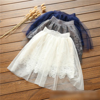 Wholesale Girls White Mini Skirt - Lace Tutu Girls Skirts 2017 New Children Clothes Skirt Summer Tulle Kids Princess Girl Skirt Tutus Party Skirts White Grey Navy Blue A6170