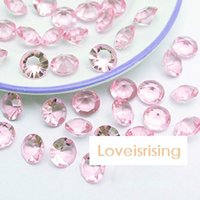 Wholesale Party Supplies Confetti - 18 Colors Pick--500pcs 10mm (4 Carat) Pink Color Diamond Confetti Faux Acrylic Bead Table Scatter Wedding Favors Party Decor--Free Shipping