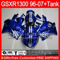 Wholesale Suzuki Gsxr 1997 - 8Gifts 23Colors For SUZUKI Hayabusa GSXR1300 96 07 1996 1997 1998 gloss blue 15NO93 GSXR 1300 GSXR-1300 GSX R1300 1999 2000 2001 Fairing