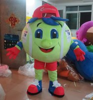 Wholesale Tennis Ball Costumes - SX0723 100% real photos of big green tennis ball mascot costume for adult to wear for sale