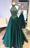 Wholesale Modest Jacket Dresses Cheap - 2017 Real Image Hunter Green A Line Formal Evening Dresses Halter Neck Floor Long Backless Modest Plus Size Prom Pageant Gowns Cheap Vestido