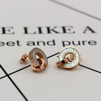 Elegant Design blanc shell Pavé réglant Silver Color Women Party Big Round Stud Earrings For Gift