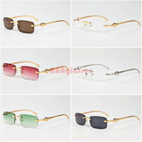 Wholesale Head Goggles - Classic Men Women Rimless Sunglasses Vintage Brand Designer Leopard Head Gold Meal Frames Optical Eyewear Buffalo Horn Sun glasses