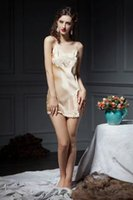 Wholesale Womens Sexy Chiffon Nightgown - 2017 womens sexy 100% silk Pajama Lingerie Sleepwear Bath Gown pjs Nightgown 3pcs lot #4028