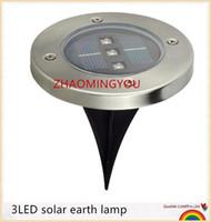 lampe à gazon en acier inoxydable achat en gros de-VOUS 10PCS Solar Powered 3 LED Solaire Lumière Extérieure LED Jardin Lumière Pelouse Chemin Voie Clôture En Acier Inoxydable Enterré En Terre Lampe