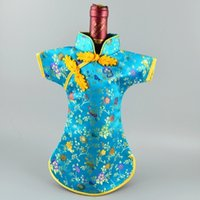 Wholesale China Clothing Wholesalers Silk - China Cheongsam Ethnic Wine Bottle Cover Clothes Silk Brocade Bottle Decor Bags Pouch Packaging Bag