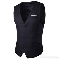Wholesale Black Slim Fit Waistcoat - Hot Sale New Mens V-Neck Slim Fit Vests Suit Casual Waistcoat Style Outerwear & Coats Free shipping
