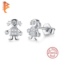 Wholesale Trendy Earrings For Girls - BELAWANG Trendy 925 Sterling Silver Stud Earrings Allergy Lovely Cute Girl Shape Earrings with CZ for Women Children Friendship Wholesale