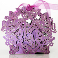Wholesale Candy Boxes Bridal Wedding - Butterfly Laser Cut Wedding Box Favors With Beautiful Ribbon Chocolate Gifts Candy Boxes Bridal Baby Shower Christmas Party Decorations