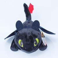 Wholesale Toothless Plush Doll - 23 cm How To Train Your Dragon 2 fearsome all-black Plush Toy Toothless Stuffed Dolls Toys for Baby Kids