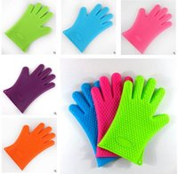 Wholesale Home Bbq Grill - Glove Heat Resistant BBQ Bake Silicone Gloves Oven Mitts Anti Slip Grip Best for Microwave Grilling and Baking 5 Fingers Home Gloves Cooking
