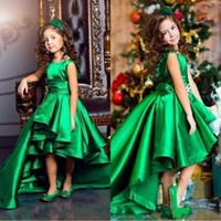 Wholesale Emerald Wedding Dresses - Emerald Green Satin Girls Pageant Dresses Crew Neck Cap Sleeves Short Kids Celebrity Dresses 2017 High Low Flower Girls Gowns BA4830