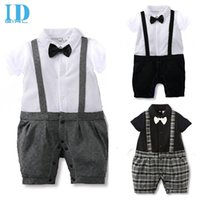 Wholesale Gentleman Tie Romper Infant - IDGIRL Baby Gentleman Suit Boys Romper Bow Tie Suits 2016 New Spring Summer Jumpsuit Newborn Costume Infant Clothes Roupas JY0224